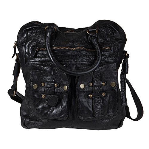 Billy the Kid Daytona borsa pelle 33 cm compartiment tablet Black