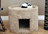 New Cat Condos X-Large Carpeted Cat Bed and House, Brown