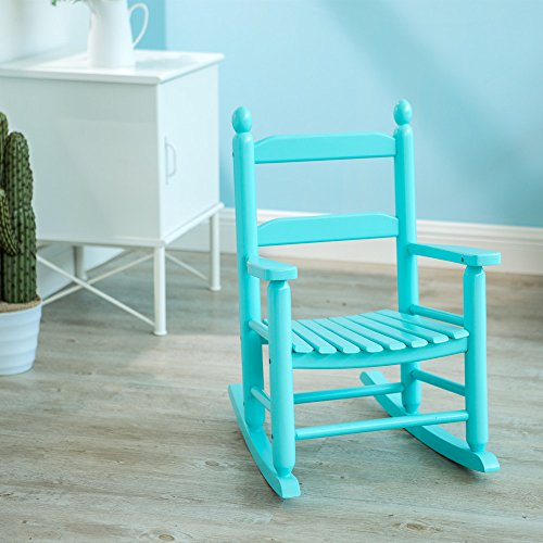 Wood Rocker Porch (Child's Porch Rocker Solid Wood Wooden Rocking Chair Country Plantation KD-20BB, Baby blue Indoor Outdoor, Ages 4-8)