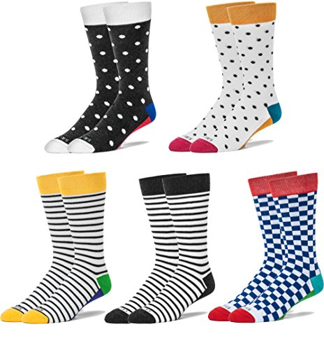 Pack of 5 Men's Fashionable Luxury Colorful Pattern Design Soft Cotton Socks by FUN TOES (Pattern)