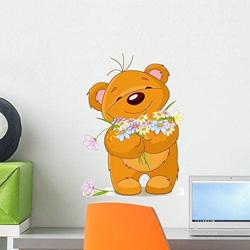 - Wallmonkeys Teddy Bear Giving Bouquet Wall Decal Peel and Stick Vinyl Graphic (18 in H x 15 in W) WM260900