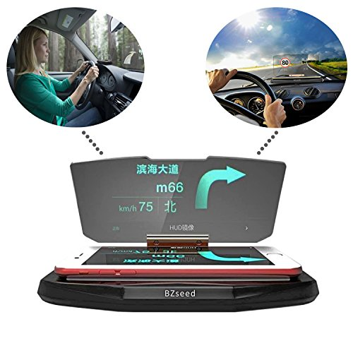 Bzseed Head Up Display  Car Hud Phone Gps Navigation Image Reflector  Cell Phone Holder Mount  Universal Smart Mobile Cell Phone Holder Mount   Black