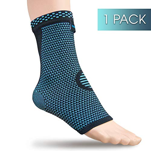 Keenhealth Ankle Compression Sleeve – Ankle Support for Men and Women – Recovery from Achilles Tendonitis, Sprains and Arthritis – Support for Tennis, Running and Volleyball (Blue 1-Pack, XL)