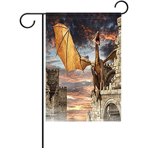 Dozili Garden Flag Dragon Castle in Fog Home Decoration Weat