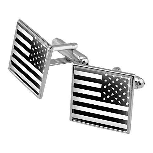 Subdued Reverse American USA Flag Black White Military Tactical Square Cufflink Set Silver Color
