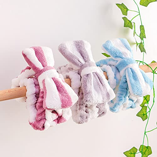 Shindel Bow Hair Band, 6PCS Soft Coral Fleece Headband Cute Bowknot Makeup Cosmetic Headbands for Washing Face Shower Spa Mask, Striped style