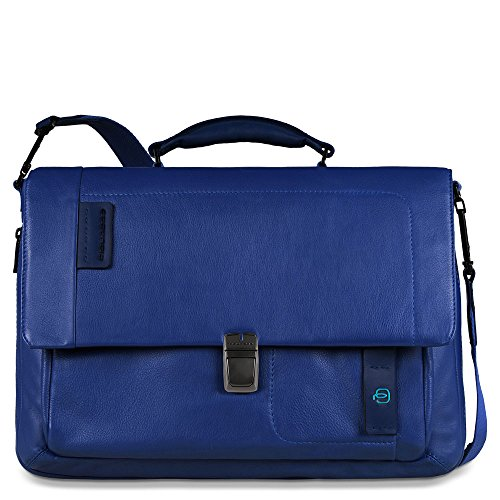 Piquadro Flap Over Expandable Computer Messenger Bag, Blue, One Size by Piquadro