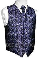 Brand Q Men's Tuxedo Vest, Tie & Pocket Square Set in Purple Paisley
