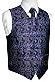Italian Design, Men's Tuxedo Vest, Tie & Hankie Set in Purple Paisley