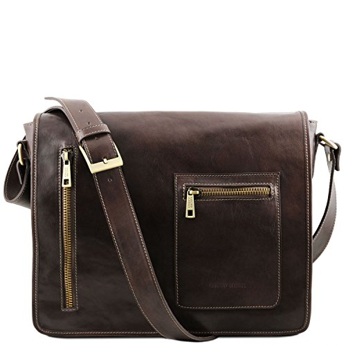 Tuscany Leather TL Messenger Leather double compartment laptop shoulder bag Dark Brown by Tuscany Leather