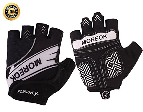 Achiou Cycling Bicycle Gloves Half Finger Mountain Bike Road Racing Gloves Gel Pad Outdoor Sports for Men/Women (Black,L)