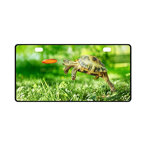 InterestPrint Funny Turtle Jumps and Catches The Frisbee Metal Car License Plate Auto Tag for Woman Man, 11.8 x 6.1 (Jump Catch)