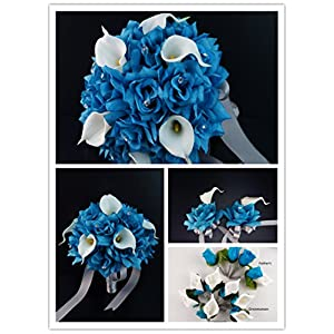 Angel Isabella 17pc Wedding Bouquets Flower Package – Turquoise White Real Touch Calla Lily Rose Bouquet Boutonniere Corsages