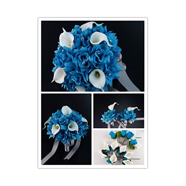 17pc Wedding Bouquets Flower Package – Turquoise White Real Touch Calla Lily Rose Bouquet Boutonniere Corsages