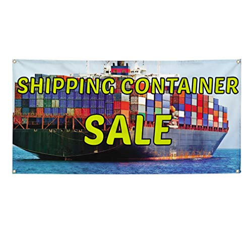 Vinyl Banner Sign Shipping Container Sale Business Outdoor Marketing Advertising Blue - 40inx100in (Multiple Sizes Available), 8 Grommets, One Banner (8 X 40 Shipping Container For Sale)
