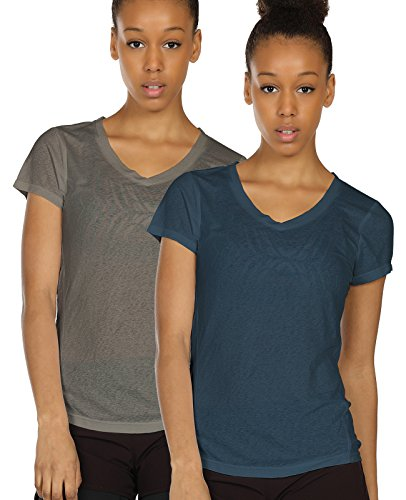 icyzone Activewear Fitness Yoga Tops Workout V Neck Open Back T-Shirts for Women(M,Grey/Navy)
