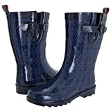 Capelli New York Women's Shiny Diamond Rows Rain Boot
