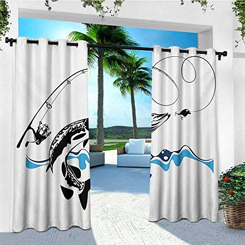 (leinuoyi Fishing, Outdoor Curtain Ends, Big Pike Fish Catching Wobblers Reel Trap in River Raptorial Predator Hunting Print, Balcony Curtains W96 x L108 Inch Black Blue)