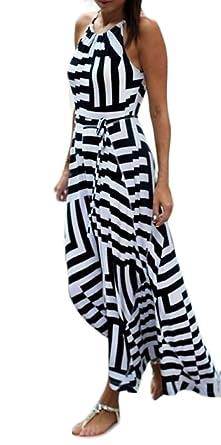 online store c413b 9039d Vestiti Donna Estivi Eleganti Lunghi Vestito A Righe Larghi ...