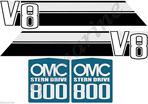 Omc Stringer Stern Drive (OMC 800 Stringer V8 Stern Drive Decal/Sticker Set)