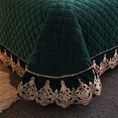 Couvre-lit européen en dentelle velours pour lit king size - Gris bleu - Housse de lit double, matelassée - Antidérapante - 3 taies d'oreiller - Violet - 250 x 250 cm
