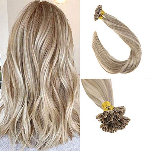 Sunny 50 Strands Brazilian Remy Utip Hair Extensions Blonde mixed Brown Highlight Silk Straight Fusion Tip Hair 18 Inches 50g