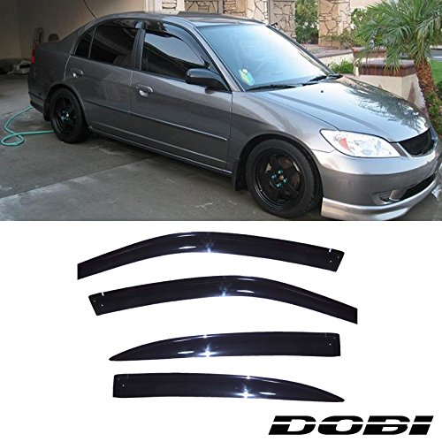 VioGi 4pcs Dark Smoke Outside Mount Style Sun Rain Guard Vent Shade Window Visors Fit 01-05 Honda Civic 4-Door Sedan Civic 4dr 4 Door Sedan