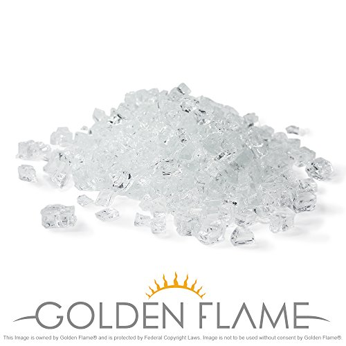 Diamond Crystal Pellets - Golden Flame 10-Pound Fire Glass with Fireplace Glass and Fire Pit Glass, 1/2-Inch, Starfire Crystal Diamond