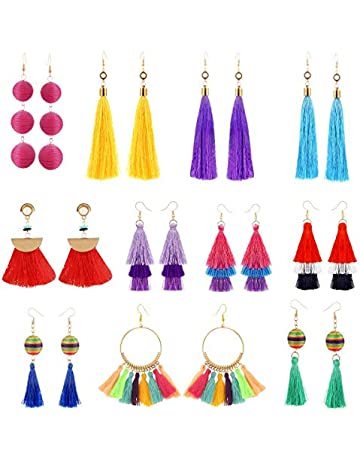 298864e10 11 Pairs Colorful Long Layered Thread Ball Dangle Earrings Yellow Red  Turquoise Tassel Hoop Fringe Bohemian