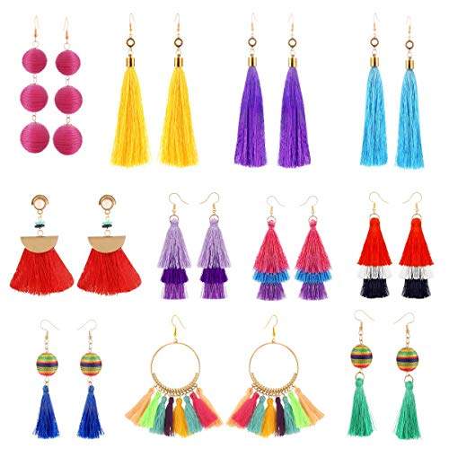 11 Pairs Colorful Long Layered Thread Ball Dangle Earrings Yellow Red Turquoise Tassel Hoop Fringe Bohemian Tiered Tassel Drop Earrings Soriee Stud Earrings Gift Set for Girls Women