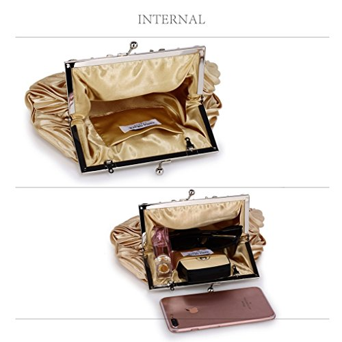 Handbags Bridal Leahward Purses Bags Bag Womens Satin Cw98 Clutch Wedding Ladies Evening Nude qnxZapwnT