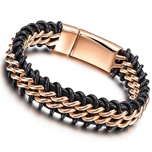 Jinbaoying Mens Genuine Leather Bracelet Stainless Steel Mens Bracelet Braided Wristband,Big Size 9.25 inches(Rose Gold Bracelet) - Leather Rose Bracelet