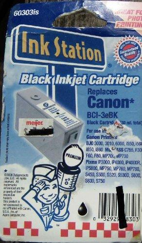 - Ink Station Black Inkjet Cartridge Replaces Canon BCI-3eBK