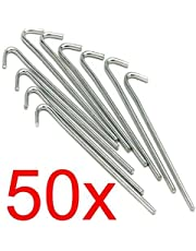LIVIVO Heavy Duty Galvanised For Long Life Steel Tent Pegs Metal Camping