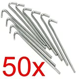 LIVIVO Heavy Duty Galvanised For Long Life 9' Steel Tent Pegs Metal Camping High Quality (PACK OF 50)