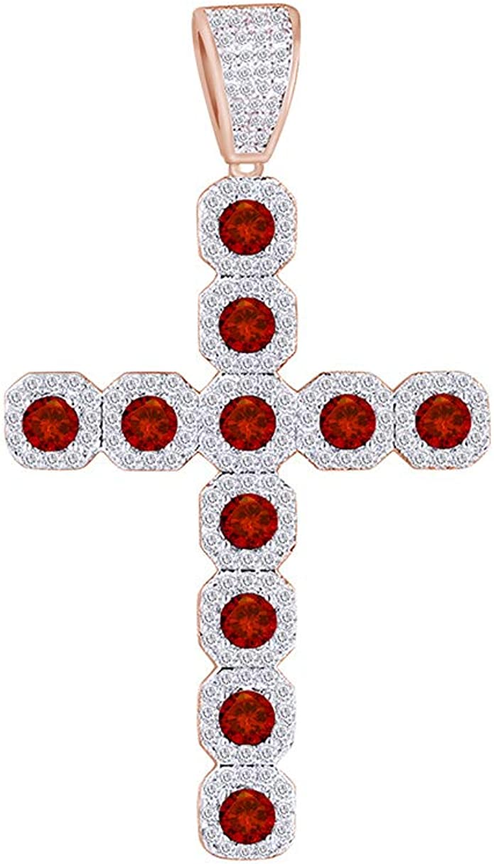 Men/'s 10K Yellow Gold Over Round Cut VVS1 Diamond Jesus Cross Pendant Charm