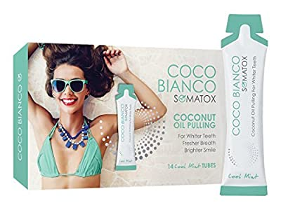 SOMATOX COCO BIANCO - Coconut Oil Pulling Kit - Natural Teeth Whitening | 14 Day Supply + FREE BONUS eBOOK (Whiter Teeth, Clean Mouth, Fresh Breath) Oral Dental Detox - Virgin Coconut Oil With Mint