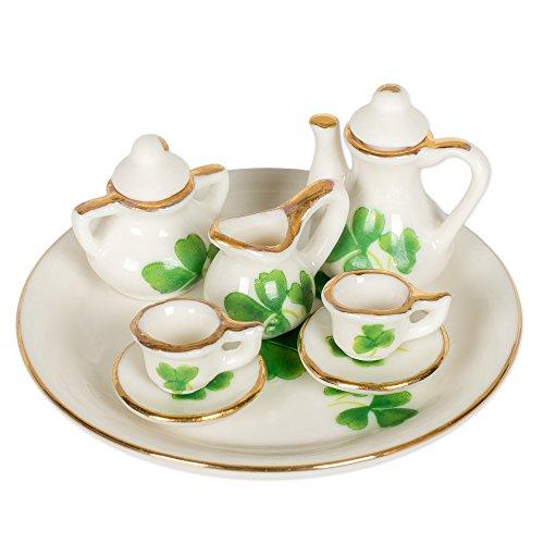 Shamrock Porcelain - 8 Piece Miniature Green Irish Shamrocks Porcelain Tea Set in Gift Box