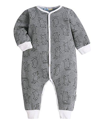Kidsform Unisex Baby Romper Print Button Footless Bodysuit Onesie One-piece Pajamas Jumpsuit Bear (Bear Button)