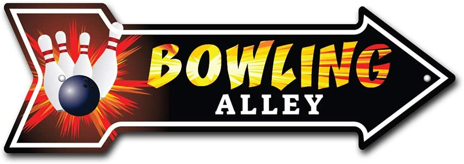 SignMission Bowling Alley Arrow Sign | Indoor/Outdoor | Direction Arrow Sign Funny Home Décor for Garages, Living Rooms, Bedroom, Offices Plastic Sign | 18