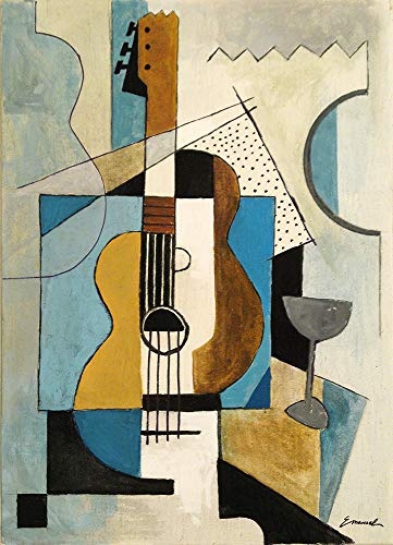 - Guitar cubist painting Print art canvas drawing gift illustration Autographed signed home decor