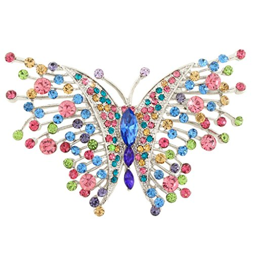 EVER FAITH Swallowtail Butterfly Brooch Multicolor Austrian Crystal Silver-Tone (Silver Tone Butterfly Brooch Pin)
