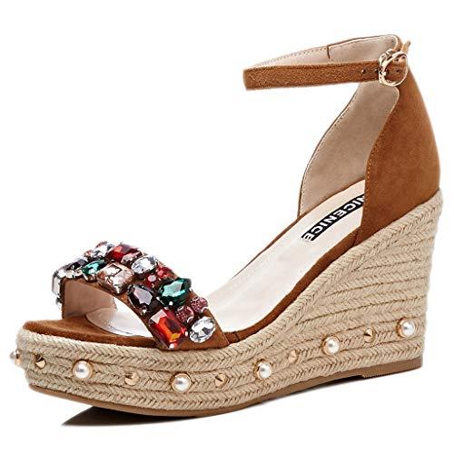 36 Casual A Del Zapatos Tobillo Plataforma De Señoras brown Correa Cuñas Verano Abierta Mujer Agua Redonda Cabeza Prueba Sandalias Moda ZxW8HA