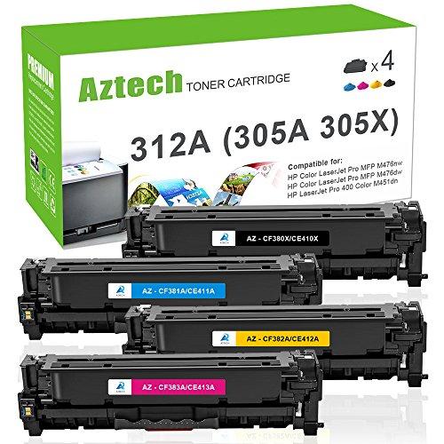 Aztech Compatible for HP 305A CE410A 305X CE410X 312X CF380X (312A CF380A) Toner Cartridge for HP Laserjet Pro 400 Toner Laserjet M451dn M451nw MFP M475dn, LaserJet Pro MFP M476nw M476dn - Printer Laser Hp 400