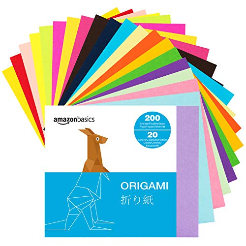 Amazon Basics Origami Paper, Assorted Colors, 200