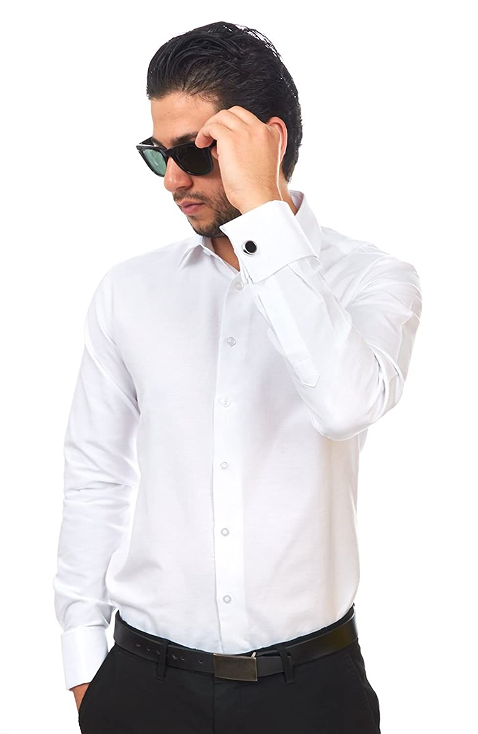 New Mens Dress Shirt White French Cuff Tailored Slim Fit Wrinkle ...