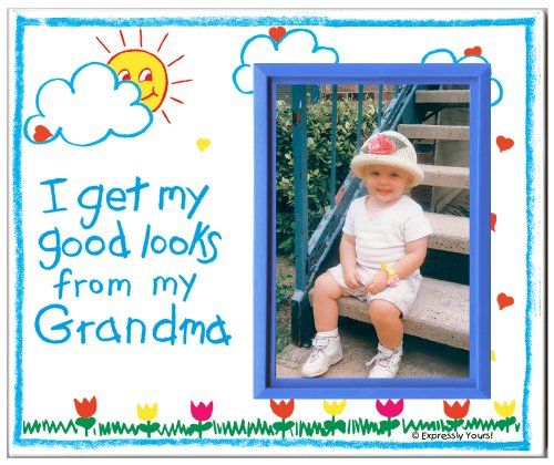 Grandma Picture Frame | Affordable, Colorful and Fun | Holds 3.5 x 5 Photo | Boy or Girl Nursery Decor | Innovative Front-Loading Design | Crayola Theme by Expressly Yours! Photo Expressions