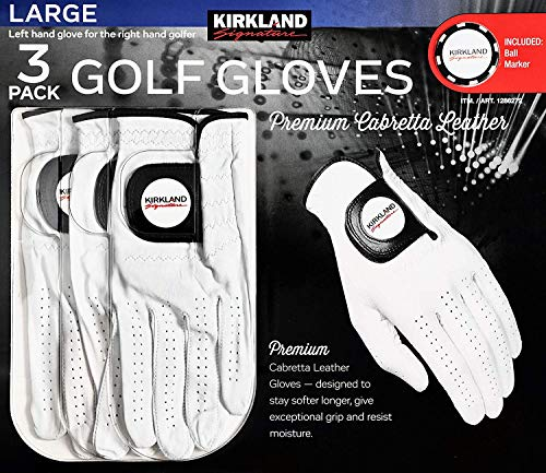 Kirkland Signature Men's Golf Gloves Premium Cabretta Leather, Large, 3 Pack