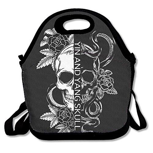 WOXIANJIN Lunch Bag For Men Lunch Bag For Women Yin And Yang Tribal Skull Lunch Bag Lunch Box Food Bag Lunch Bag For Adults Lunch Bag For Kids ()