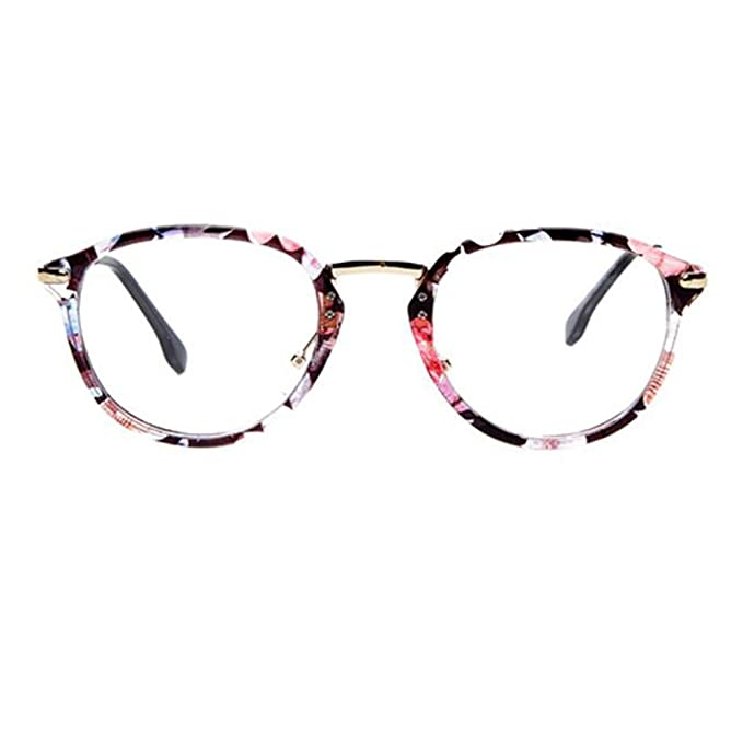 44b4214a7ba Image Unavailable. Image not available for. Color  Retro Fashion Round  Glasses Frames for Men and Women-Floral
